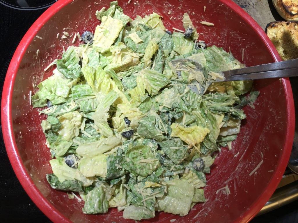 beautiful yummy homemade caesar salad