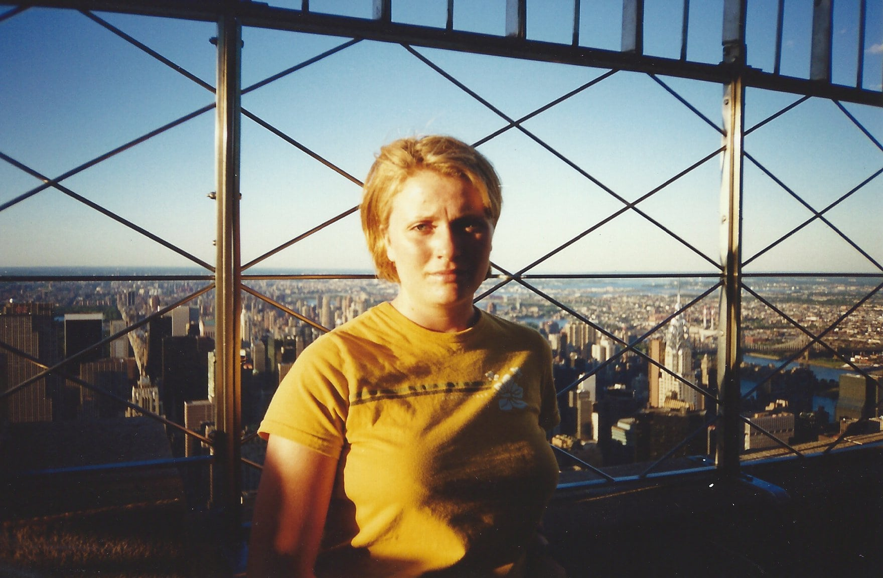 Standing at the top of the Empire State Building in 2000