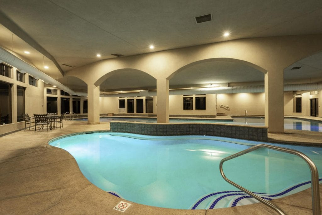 Swim year round in the heated indoor pools