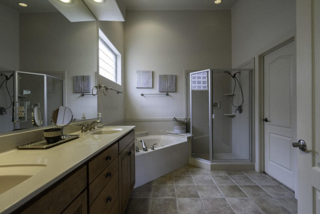 well layed out master bathroom